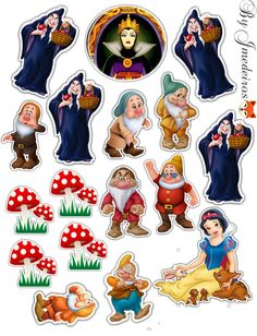 Snow White 7 Dwarfs, Snow White Birthday, Disney Princess Party, Frozen Birthday Party, Boys Over Flowers, Disney Scrapbook, Craft Party, Print And Cut, Cross Stitch