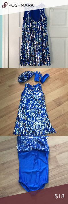 Sequined Mercy Tap/Jazz Costume w/ hat & gloves. Sparkles & shines on stage. Royal Blue & Silver Sequins. Royal Blue one piece body suit underneath.  Worn once for recital. Revolution Dance Wear Costumes Dance