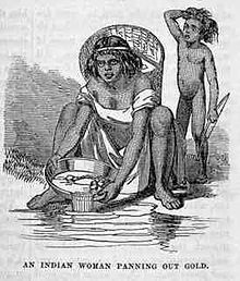 Indian Woman Panning California gold rush