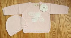 Burt's Bees Baby Girl Knitted Sweater & Hat Set ~ Pink ~ Bee ~ Buttons ~ #BurtsBees #Pullover #Everyday