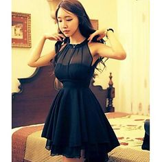 Women's Sexy Micro-elastic Sleeveless Knee-length Dress (Mesh) - USD $ 17.27