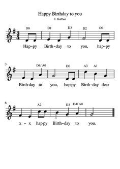 Learn to Play the Piano on the Computer Trumpet Sheet Music, Violin Sheet Music, Piano Music, Violin Lessons, Music Lessons, Bild Happy Birthday, Birthday Music, Cake Birthday, Accordion Sheet Music