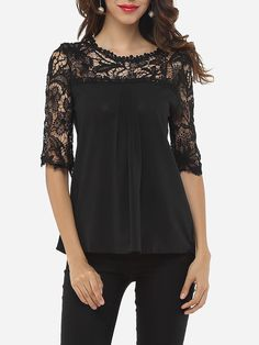 b1e19858f77c54 Lace Round Neck Blouses Womens Trendy Tops, Tops Online, Patchwork, Blouses  For Women