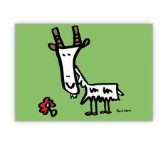 Glückwunschkarte mit illustrierter Ziege mit Blume - http://www.1agrusskarten.de/shop/gluckwunschkarte-mit-illustrierter-ziege-mit-blume/    00015_0_974, Comic, Geburtstags Blumen, Gratulation, Grußkarte, Gruss, Klappkarte, Tiere, Ziege00015_0_974, Comic, Geburtstags Blumen, Gratulation, Grußkarte, Gruss, Klappkarte, Tiere, Ziege