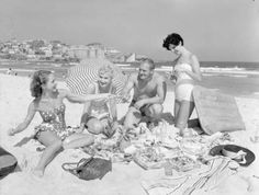 A Christmas Day picnic on Bondi beach, 1958, National Archives of Australia, L28742