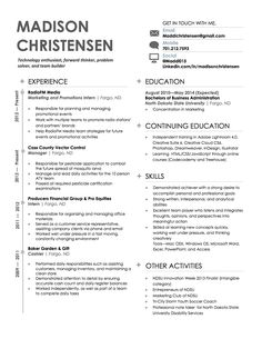 sample of modern resume (image only, I did not create)