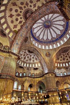 Image shot inside the grand Blue Mosque in Istanbul, Turkey Blue Mosque Istanbul, Places To Travel, Places To Visit, Visit Istanbul, Beautiful Mosques, Pamukkale, Islamic Architecture, Building Architecture, Turkey Travel