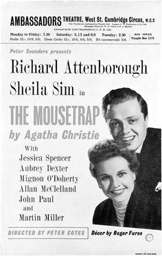 Vintage Theatre Poster - Ambassadors - London - The Mousetrap - Richard Attenborough - Sheila Sim - 1952