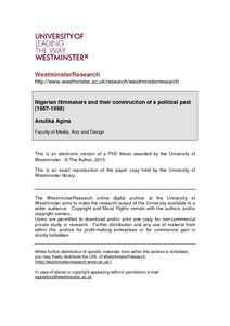 Nigerian filmmakers and their construction of a political past (1967-1998) - WestminsterResearch
