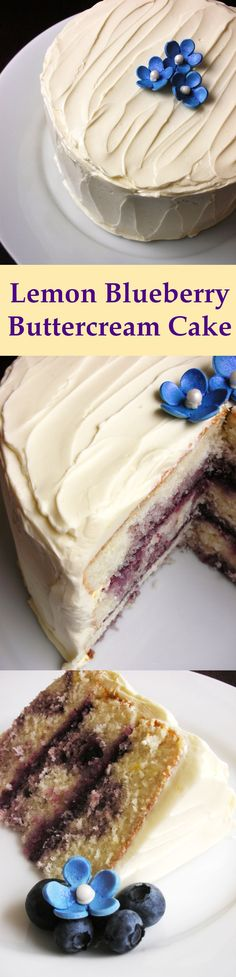 Lemon Blueberry Layer Cake with Lemon Buttercream Frosting