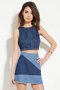 Contemporary Denim Mini Skirt | LOVE21 #f21contemporary