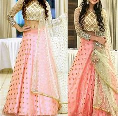 A beautiful lehenga with mirror embroidered top and pink bottom. For more information on this outfit you can email us at… Indian Bridal Lehenga, Red Lehenga, Indian Gowns, Indian Attire, Choli Designs, Lehenga Designs, Indian Bridal Outfits, Indian Wedding Outfits, Designer Lehnga Choli