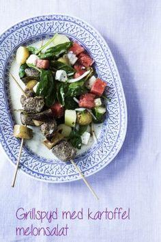 Blog - lækker kartoffel salat med melon og kødspyd