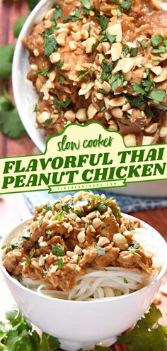 Need an effortless family dinner idea? Learn how to make Thai Peanut Chicken! Stewed in coconut milk and peanut sauce, this Asian-inspired dish is flavorful. Save this slow cooker chicken recipe! Salmon Recipes, Lunch Recipes, Healthy Dinner Recipes, Asian Recipes, Real Food Recipes, Easy Chicken Dinner Recipes, Easy Delicious Recipes, Easy Recipes, Easy Meals