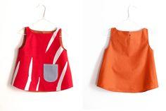 Cute sleeveless red print baby top/dress from Finnish designer Maija Ukko $56 from Arty Baby. Handmade from upcycled fabrics. www.artybaby.com.au.