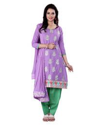 Buy Lavendor embroidered cotton unstitched salwar with dupatta cotton-salwar-kameez online