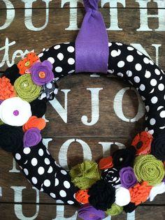 Halloween wreath fabric wrapped Halloween wreath by TealandOrange