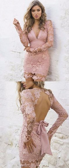 10% Money OFF PROMOTION for ONE DAY!!Pink Lace Short Prom Dresses,V Neck Homecoming Dresses,Open Back Homecoming Dress,Long Sleeves Homecoming Dress,Sexy Cocktail Dresses