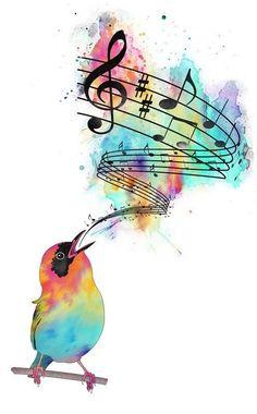 Song Bird Music Drawings, Art Drawings, Music Tattoos, Tatoos, Music Wallpaper, Iphone Wallpaper, Bird Art, Watercolor Art, Art Projects