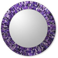 NOVICA Round Wall Mirror and Frame Handcrafted with Mosaics