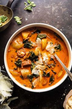 Smoke Sausage And Potatoes, Dinner Recipes Easy Quick, Easy Dinners, Half Baked Harvest, So Little Time, Soups And Stews, Soup Recipes, Kale Recipes, Stuffed Peppers