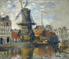 The Windmill on the Onbekende Gracht, Amsterdam by Claude Monet