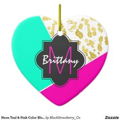 Neon Teal & Pink Color Block & Faux Gold Monogram Double-Sided Heart Ceramic Christmas Ornament