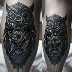 Male Calves Steampunk Owl Tattoo