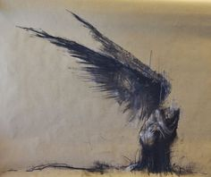 """© Guy Denning - """"Jophiel watches 3"""" - conte and halk on paper - 90 x 70 cm - 5th September 2014 - enquiries and sales contact via: www.guydenning.org"""