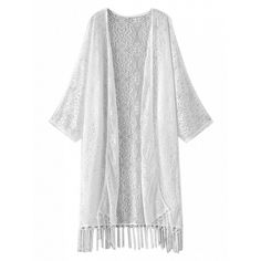 Choies White Sheer Lace Tassel Open Front Longline Kimono ($20) ❤ liked on Polyvore featuring outerwear and white