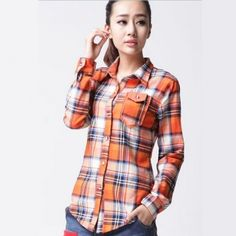 Orange and blue plaid shirt for women spring wear