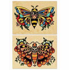 Old School Tattoo Art Flash BEE Butterfly & by illustratedink