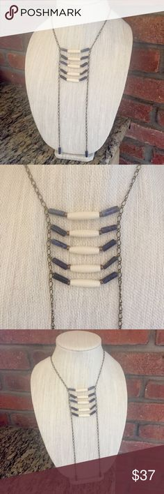 Lapis Bone Ladder Breastplate Tribal Necklace Lapis stone and bone tube beads on bronze adjustable chain. 22.5-25 inch neck chain. The breastplate and lapis pendulums hang an additional 8.5 inches. Handmade by me! Azeeta Designs Jewelry Necklaces