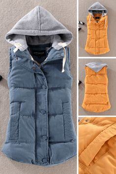 Women's Gray Hooded Gilet to wear over a sweater and jeans for a causal look and style this fall.
