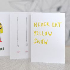 Never Eat Yellow Snow Christmas card pack at DOWSE