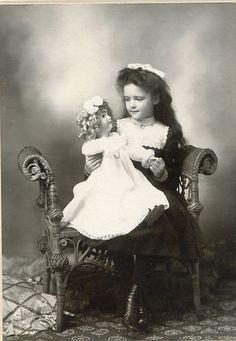 10 Antique Vintage Photo Affectionate Girl w Big Toy Doll Historical   eBay