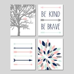 TRIBAL Arrows Baby GIRL Nursery Art Pink Mint Navy - Birds in a Tree, Be Kind Be…