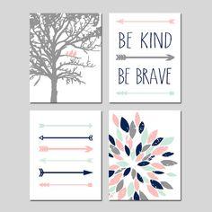 TRIBAL Arrows Baby GIRL Nursery Art Pink Mint Navy - Birds in a Tree, Be Kind Be…