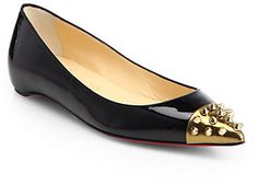 Christian Louboutin Geo Patent Leather & Spiked Cap-Toe Ballet Flats on shopstyle.com