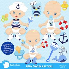 80% OFF Baby boy clip art Baby boy clipart Boy by AMBillustrations, Baby Shower