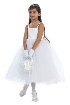 White Beautiful Beaded Ballerina style Communion Dress - K8037 K8037-WH $74.95 on www.GirlsDressLine.Com
