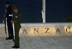 Australian and New Zealand servicemen stand guard during a dawn ceremony at Anzac Cove, Gallipoli, Turkey.