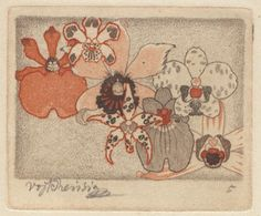 "artnouveaustyle: "" Etchings from the ""Seven Orchids"" series by Czech artist Vojtěch Preissig, "" Vienna Secession, Antique Books, Printmaking, Orchids, Art Nouveau, Vintage World Maps, Textiles, Sculpture, Etchings"