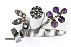 Large 1920s Mexican Taxco Sterling Silver & Purple Amethyst Brooch