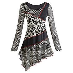 Women's Houndstooth And Floral Patch Long Sleeve Asymmetrical Tunic - Large null http://www.amazon.com/dp/B00OM9RGN4/ref=cm_sw_r_pi_dp_k2ZOub0BK5H9M