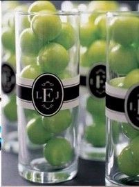 Monogram.....green gumballs for party favors--- Perfect if I use green apples as accents for the setting :)