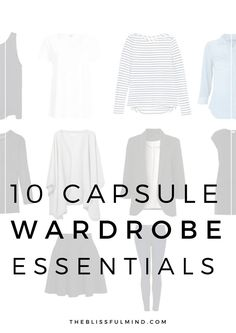 10 Capsule Wardrobe Essentials for Endless Outfit Options (*I like the different ways to visualize the basics) 10 Piece Wardrobe, Capsule Wardrobe Essentials, Wardrobe Basics, Mom Wardrobe, 10 Item Wardrobe, Simple Wardrobe, Wardrobe Ideas, Summer Minimalist, Minimalist Living