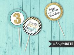 Young, Wild & Three Boys Boho Birthday Party - cupcake picks / toppers / favor tags, Printable digital file, instant download, etsy.com - gold glitter, black, teal blue, grey - arrows feather arrow - feathers - tribal boho birthday party theme - toddler party ideas - diy decorations - Camalee Kate Studio