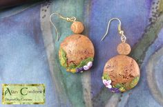 Bark Earrings with woodland flowers. | by Polymer Clay Delights