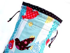 Knitting Project Bag Crochet Project Bag Tote Drawstring WIP - Bird Stripe Blue $25